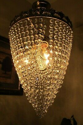 Antique Vin.PLAFONIERE French Basket Style Crystal Chandelier Lamp 1960's.16 in