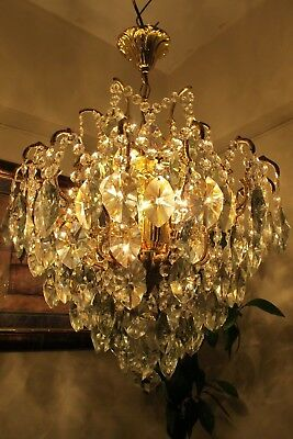 Antique Vintage French SPIDER Style Crystal Chandelier Light Lamp 1940's 19 in..