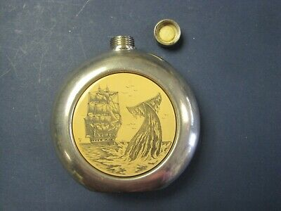 Vintage English Sheffield Pewter Flask w Scrimshaw of Whale & Schooner by Comoys