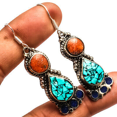 """Blue Turquoise Red Coral Lapis 925 Silver Overlay Earring Jewelry Sz 2.42"""""""