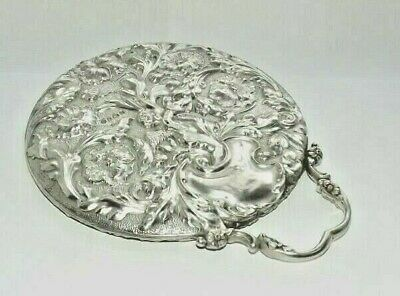 Antique Art Nouveau Edwardian Solid Silver Starling Hand Mirror Cherub Bham 1904