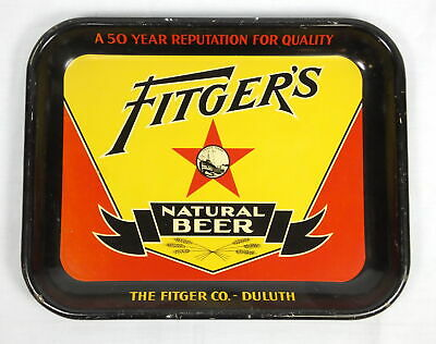 Vintage 1931 Fitgers Natural Beer Metal Tray 50 Year Reputation American Can Co