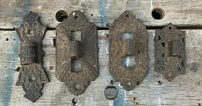 lot of 4 Antique Ornate Cast Iron Lamp Wall Brackets - Hinges Oil Lamp Vintage