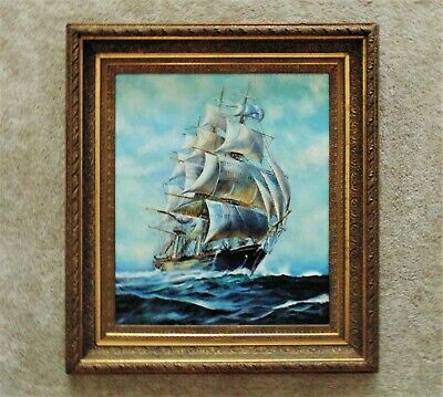 LARGE Antique Clipper Ship Painting Sailing Seascape Oil on Canvas