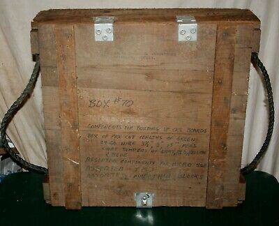 "LARGE 1967 ROPE HANDLE HINGED LID WOODEN MILITARY AMMO BOX CRATE 21"" x 21"" x 7"""