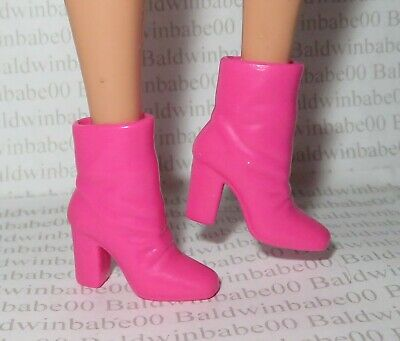 Hb ~Shoes Barbie Doll Model Muse Pink Hip To Be Square Slouch Ankle Boots