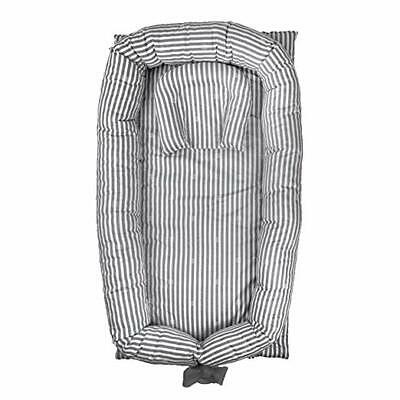Abreeze Baby Bassinet for Bed -Grey Striped Baby Lounger