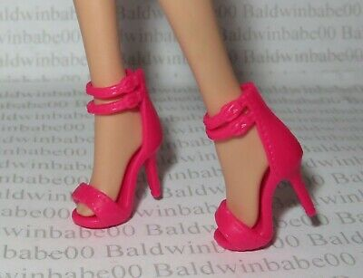 Hb ~Shoes Barbie Doll Model Muse Pink Ankle Strap Peep Toe Sandals High Heel