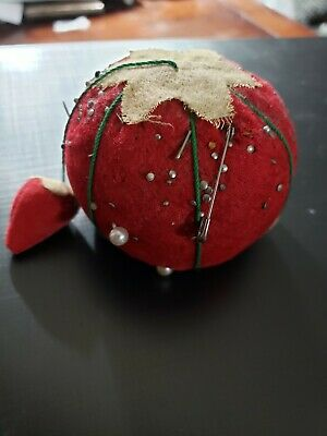 Vintage Strawberry with Small Strawberry Sewing Pin Cushion Pins Included