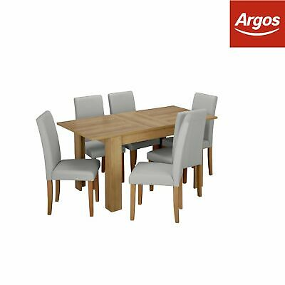 Argos Home Miami Extendable Dining Table and 6 Chairs - Grey