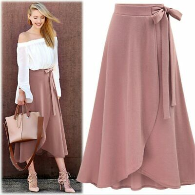 Plus Size Women A-line Flared Slit Maxi Solid Bow Knot High Waist Long Skirt 1Pc