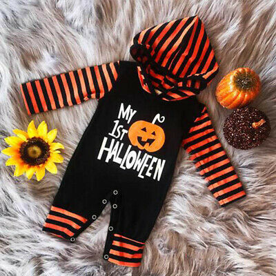 Newborn Baby Boy Girl Toddler Halloween Romper Jumpsuit Hooded Bodysuit Outfits