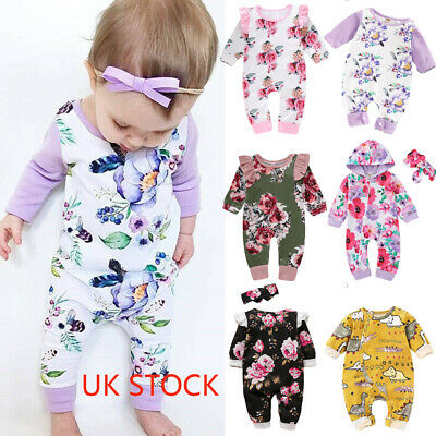UK Newborn Baby Girl Winter Clothes Long Sleeve Bodysuit Romper Jumpsuit Outfits