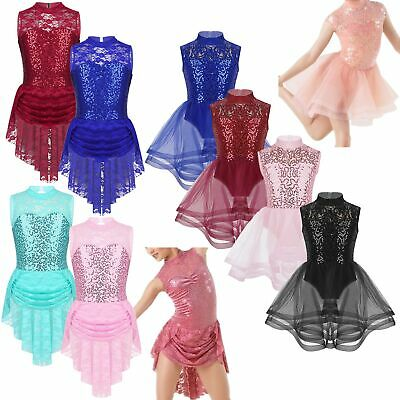 Girls Ice Skating Ballet Leotard Dance Dress Tutu Dancewear Performing Costumes