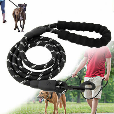 KIEPOWS 5FT Extra Strong Reflective Rope Dog Lead Leash with Padded Handle Black
