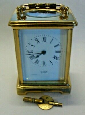 Early 20th century brass cased carriage clock with key by Rowell Oxford