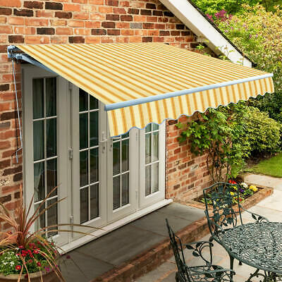 Garden Canopy Standard Manual Retractable Patio Awning USED Yellow Stripe 2.0m