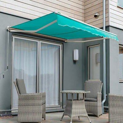 Garden Canopy Half Cassette Manual Retractable Patio Awning USED Turquoise 3.0 m