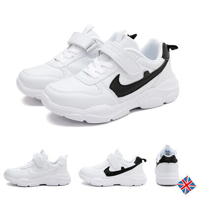 Kids Boys Girls Trainers Children Air Faux Leather Sports Running Comfort Shoes