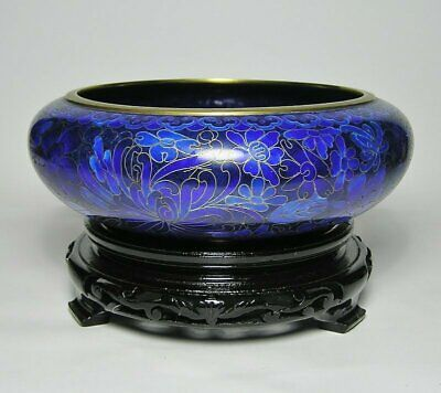 Vintage CHINESE Blue CLOISONNE Enamelled   BRASS BOWL on WOODEN STAND ~ Label