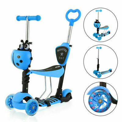 Kids Toddler Child Kick Push Scooter 3 in 1 With Flashing Wheel T-Bar Tilt Seat