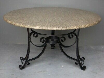 Big French antique wrought iron granite dining table provincial marble seats 6