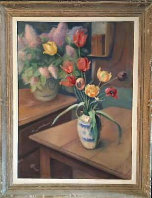 Large French Impressionist Oil Painting of Tulips, Still life, Signed c.1940s