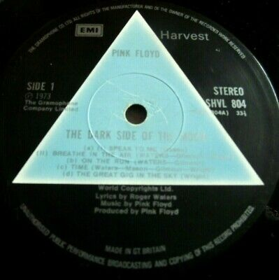 PINK FLOYD ~ DARK SIDE OF THE MOON ** 1973 UK 1st HARVEST LP SOLID BLUE. A-2 B-2