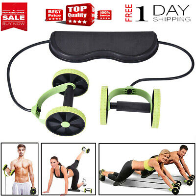 Double Wheel Ab Roller-Pull Rope Waist Abdominal Slimming Gym Fitness Equipment