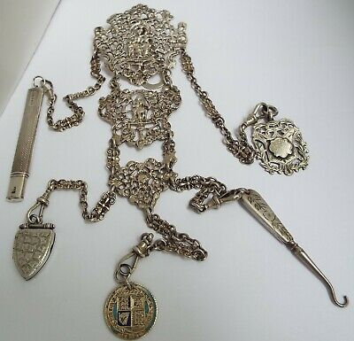 Stunning Orig Heavy English Antique 1899 Sterling Silver Chatelaine Chain & Fobs