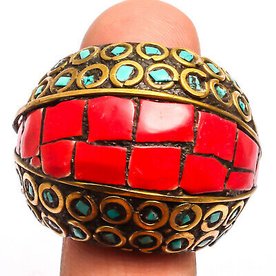 Red Coral Tibetan Turquoise  Ring 925 Sterling Silver Plated Jewelry Sz10