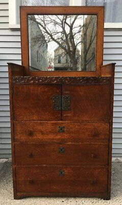 Antique Arts & Crafts Quartersawn Oak Chest of Drawers w/ Mirror circa 1905