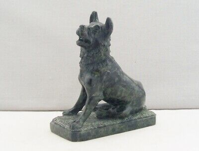 ANTIQUE 19th CENTURY ITALIAN SERPENTINE MARBLE CARVED DOG HOUND OF ALCIBIADES