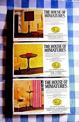 Lot Doll House Of Miniatures 3 Queen Anne Furniture Kits, Vintage New Old Stock
