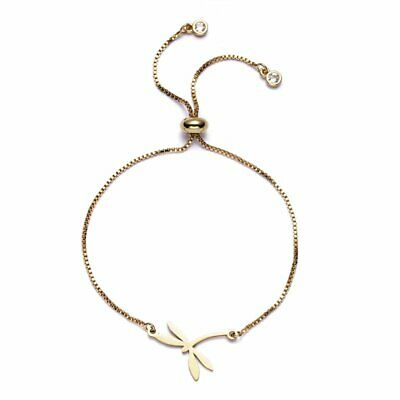 Fashion Gold Stainless Steel Dragonfly Animal Bangle Adjustable Chain Bracelet