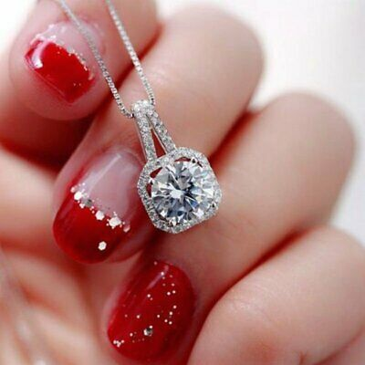 Women Silver Crystal Zircon Pendant Necklace Clavicle Chain Fashion Jewelry Gift