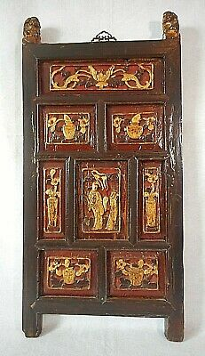 """Chinese 18th Century Carved Wood Paneled Wall Hanging-Flowers & Figures 36"""" High"""