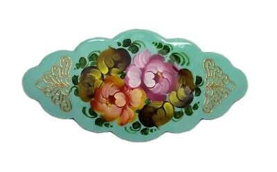 THREE Russian Lacquer Barrettes Hair Clips HAND PAINTED #0934