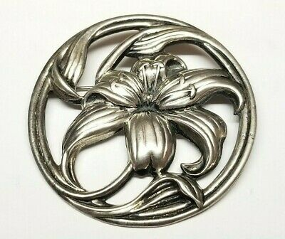 Antique Victorian Art Nouveau STERLING SILVER Large Sized Iris Flower Brooch 19g