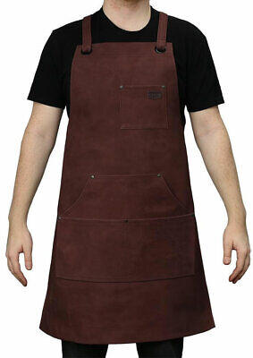 First Manufacturing Suede Leather Welding Apron - Oxblood Red