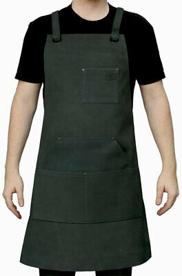 First Manufacturing Suede Leather Welding Apron - Blue Steel