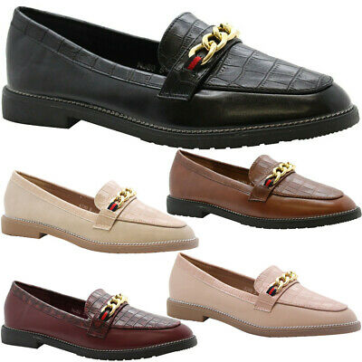 Womens Flats Brogue Loafer Chain Croc Office Pumps Ladies School Work Shoes Size