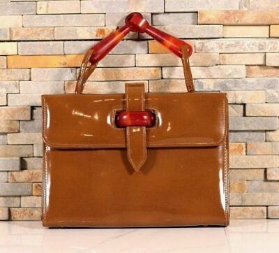 Vintage Brown Caramel Chocolate Patent Purse Bakelite Lucite Tortoise Accents