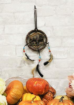 Native American Sacred Buffalo Bison Cattle Dreamcatcher With 3 Beaded Feathers