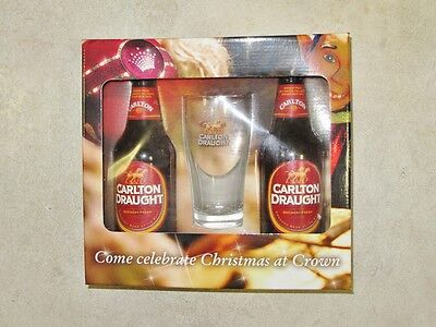 Carlton Draught Set. Glass and bottles. Crown special. Draft.
