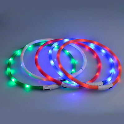 USB Rechargeable Pet Collar Flashing LED Light Band Luminous Dog  Belt
