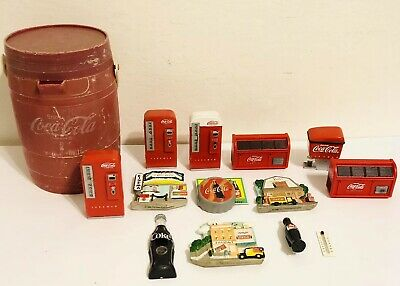 Lot of 14 Coca-cola magnets, All Different Sizes  & Designs With Case - Pre Own