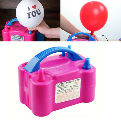 600W Electric Balloon Pump Inflator Air High Power Blower+2Nozzle Party Portable