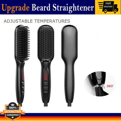 Quick Beard Straightener Electric Heat Hair Comb Brush for Men Anti-Scald