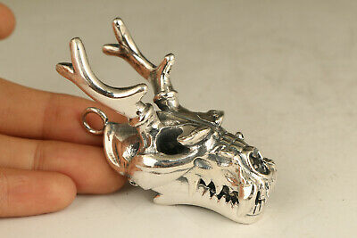 60g S925 soild silver dragon head statue pendant necklace netsuke big cool gift
